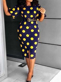 Material:Twilled Satin Silhouette:Bodycon Dress Length:Mid-Calf Sleeve Length:Short Sleeve Neckline:Round Neck Combination Type:Single Waist Line:High Waist. Polka Dot Bodycon Dresses, Bodycon Dress With Sleeves, Dot Dress, Dresses With Sleeves, Navy Dress, Midi Dresses, African Print Fashion, African Fashion Dresses, African Dress