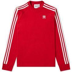 Long Sleeve 3 Stripe Tee by Adidas Adidas Shirt, Red Adidas Jacket, Adidas Long Sleeve Shirt, Red Long Sleeve Shirt, Adidas Outfit, Embroidered Sweatshirts, Cute Jackets, Gucci, Striped Tee