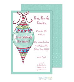 Ornament Exchange Christmas Party Invitations turquoise