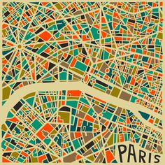 Bold Geometric #Patterns Form Abstract City Maps: Paris #illustration