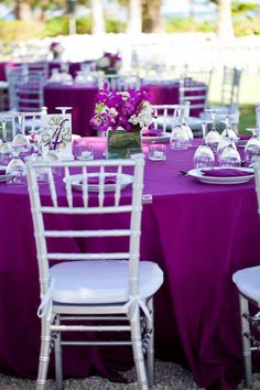 I like this shade of purple on the table cloths