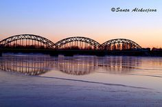 Beautiful scenery of Bridge at sunset in Riga by BlossomingDream, €5.00