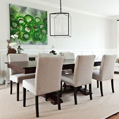 """""""One of the most frequent questions I get is about the light fixture and vibrant art in this dining room. #tbt #vanessafrancisdesign #interiordesign…"""""""