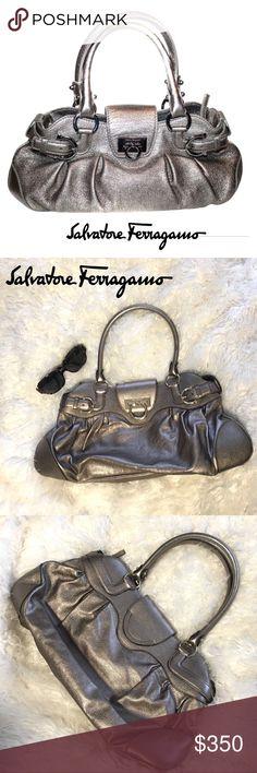 6bf992ad09 Authentic SALVATORE FERRAGAMO Marissa Leather Bag Authentic SALVATORE  FERRAGAMO platinum leather and silver Marissa handbag satchel