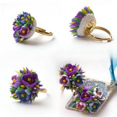Ring with tiny polymer clay flowers