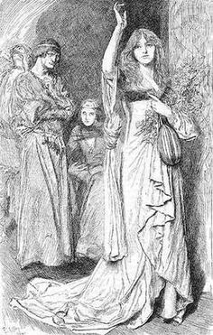 "E. A. Abbey - An illustration from Theodore_Watts-Dunton's critical comment of Shakespeare's ""Hamlet"" in Harper's Monthly Magazine for May 1904. Act IV. Scene V. Elsinore -- a room in the castle. Ophelia: ""And of all Christian souls! I pray God. God be wi' you!"""