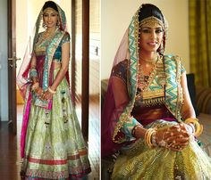 A multicolored outfit by Harpreet and Rimple Narula for the wedding of Ashni Shah of WeddingSutra. #WeddingSutraP2W