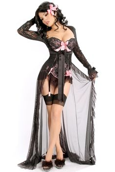 """Long gothic """"Tempest"""" robe in black with sheer lace details from Trashy Lingerie."""
