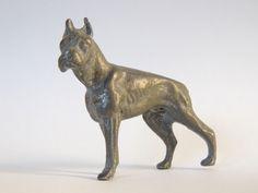 Boxer Miniature Dogs / Dog Figure Figurine Solid Pewter Vintage Antique Statue