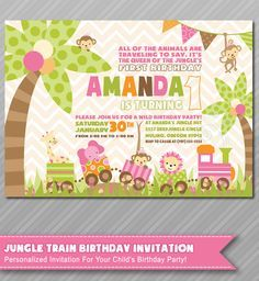 Jungle Birthday Invitations, Checkout our Etsy shop for more invitations. Jungle Invitations, Animal Invitation, by #WolcottDesigns