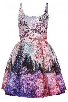 Graphic Photographic Prints - landscapes, trees & nature print dress in vivid pinks & purple - digital print fashion // Mary Katrantzou