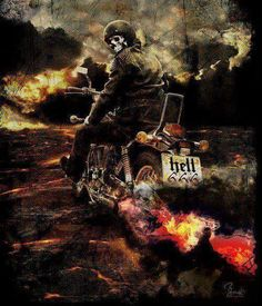 #biker #bike #skulls #reaper #darkart #mc #rideordie #motorcycle #art #hellrider #666 #highwaytohell #hellraiser Harley Davidson Tattoos, Harley Davidson Art, Gothic Fantasy Art, Dark Fantasy, Motorcycle Art, Bike Art, David Mann Art, Skull Pictures, Grim Reaper