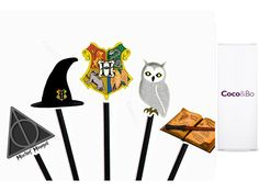 10 x Coco&Bo - Magical Wizarding Hogwarts School Cupcake Toppers / Picks - Harry Potter Theme Party Decorations and Cake Accessories Harry Potter Cake Decorations, Harry Potter Cupcake Toppers, Harry Potter Cupcakes, Harry Potter Theme, Harry Potter Birthday, Hogwarts, School Cupcakes, Cake Accessories, Colorful Cakes
