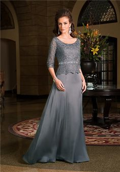 A-line Amber Satin Chiffon gown with soft skirt, beaded natural waistband, lace bodice with peplum a
