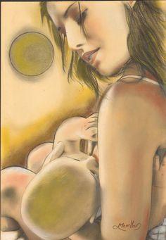 Maternità di giovane ragazza(tecnica mista