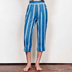 Blue Jean Atlantic Pant by Ace & Jig. All Ace & Jig fabrics are woven by artisans in India on ancient hand looms. Body Wrappers, Baby Boutique Clothing, Cool Kids Clothes, Ace And Jig, People Shopping, Facon, Classic White, White Tees, Blue Jeans