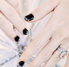 Silver Glitter Tips on Black