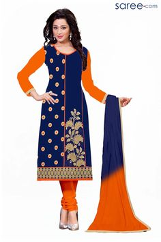 BLUE COTTON SUIT WITH EMBROIDERY WORK
