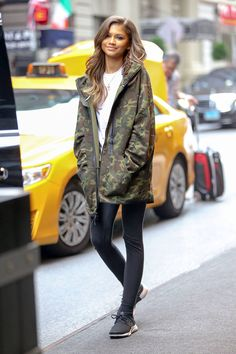 Zendaya camo jacket and sneakers casual fall outfit idea