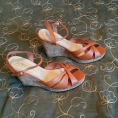 Beautiful rust/camel colored strappy wedges Beautiful rust/camel colored strappy wedges- worn 1x ***LOWEST PRICE*** Shoes Wedges