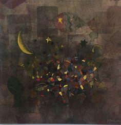 Art #contemporaryart #moon #fish #acrylicpainting #stellameletopoulou #artist