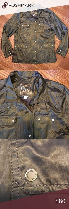 Michael Kors Large Women's Olive Jacket Women's Size Large olive green bomber jacket by Michael Kors Excellent used condition (EUC), does not come with a belt Michael Kors Jackets & Coats