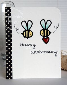 Happy Anniversary card by Michele Boyer for Paper Smooches - Bee dies