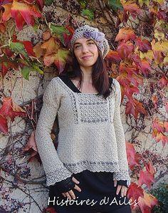 """http://histoires.d.ailes.over-blog.fr/article-un-pull-vintage-112323430.html  Inspiré du modéle """"Tunique Vintage"""" sorti du livre Crochet mode (Editions de saxe).    Fabriqué avec un coton Nat Fonty (coloris 101 Granit, et 108 Taupe)."""