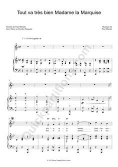 Partition Piano Tout Va Très Bien Madame La Marquise - Ray Ventura