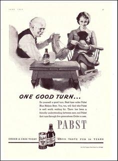 1938 PABST BLUE RIBBON BEER Original Vintage Print Ad - OLD BEER ADS