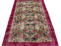 ww.aksaraycarpet.com #carpet #rug #rugs #vintage #overdyed #patchwork #homedecoration #decor #interiordesign #etsy #allover #flower #floral Turkish Artdeco Rug Floral Design 85 x 45 inches