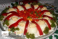 Kaszinótojás franciasaláta ágyon Hungarian Recipes, Caprese Salad, Mozzarella, Sushi, Cake, Ethnic Recipes, Desserts, Food, Tailgate Desserts