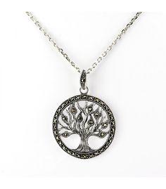 Cadena y colgante de árbol de la vida en plata de 925 milésimas y marcasitas