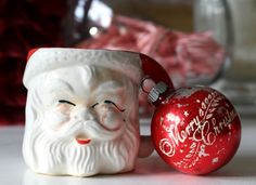 Who has a Santa mug like this - now or in the past?  Makes you smile doesn't it? Come on by & see the other vintage treasures on the Christmas Home Tour at My Soulful Home