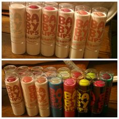 Top: new babylips lipbalm  Bottom: my collection. Missing one. I have all but one.