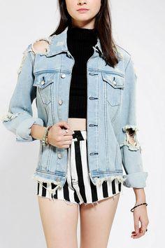 UNIF Outsider Shredded Denim Jacket #urbanoutfitters