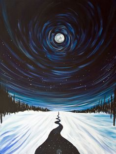 Snow, Moon and Stars, Surreal Landscape Painting - 16x20 Stretched Canvas Giclee. $200.00 #canvaspainting