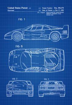Ferrari F40 Patent - Patent Print, Wall Decor, Automobile Decor, Automobile Art, Classic Car, Ferrar Wall Prints, Poster Prints, Blue Prints, Ford Fusion Accessories, Ferrari F40, Photo Printer, Patent Prints, Print Format, Drawing Sketches