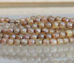 Opal Champagne Picasso Czech Round Beads 4mm 50 Beads by simplypie