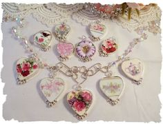 how to make broken china jewelry | Broken china jewlry from Make Mine Pink | crafts | Pinterest