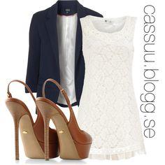 A-line lace dress, Topshop blazer, Sergio Rossi Slingbacks
