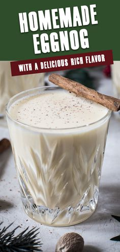 Rich, creamy, and deliciously indulgent this drink is the ultimate holiday treat. This silky smooth Homemade Eggnog is so delicious you'll want to prepare your own moving forward. #HomemadeEggnog #EggnogRecipe #ChristmasDrinks #NonalcoholicChristmasDrinks Christmas Foods, Christmas Drinks, Christmas Desserts, Christmas Recipes, Holiday Recipes, Christmas Ideas, Drinks Alcohol Recipes, Non Alcoholic Drinks, Cocktail Recipes