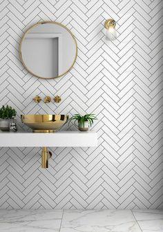 Bathroom trends Herringbone tiles and brass sink. Bathroom trends Herringbone tiles and brass sink. Tuile Chevron, Chevron Tile, Herringbone Wall Tile, Chevron Bathroom, Bathroom Canvas, Neutral Bathroom, Geometric Tiles, Bathroom Colors, Modern Bathroom Design