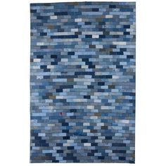 Hand-knotted Abstract Denim Blue Wool Rug (5' x 8')