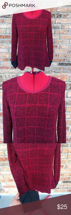 Burgandy & Black Crocheted Sweater Red / Burgandy & Black Crocheted Sweater. Warm, but on the thin side. See pictures. A bit baggy. Altar'd State Sweaters Crew & Scoop Necks