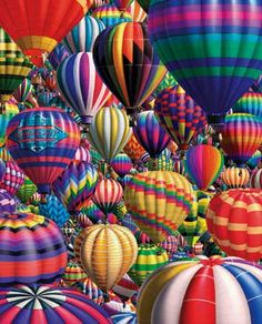 """White Mountain's """"Hot Air Balloons"""", a 1000 piece jigsaw puzzle. Art by Royce McClure; So many colorful stripes and zigzags; hundreds of flashy hot air balloons taking off at once! Air Ballon, Hot Air Balloon, World Of Color, Color Of Life, Over The Rainbow, Belle Photo, 1000 Piece Jigsaw Puzzles, All The Colors, Bright Colors"""