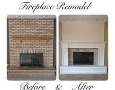 We have a nearly identical 70's brick fireplace... would LOVE to remodel it like this!!!