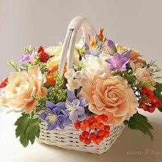 Fair Masters - handmade bouquet-mix with berries strawberries. Basket Flower Arrangements, Floral Arrangements, Polymer Clay Flowers, Flower Quotes, Sugar Flowers, Flower Crafts, Vintage Flowers, Artificial Flowers, Flower Decorations