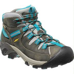 Sturdy hiking boot with teal laces! KEEN Footwear Targhee II Mid Hiking Shoe (Women's) - Hiking Shoes - Rock/Creek
