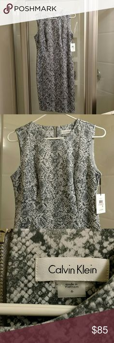 Faux suede snakeskin print dress NWT, never worn. Super soft. Material on the heavier side. Dark grey, light grey and white. Love this dress. Add colored accessories to make it pop. Thanks for looking!! Calvin Klein Dresses